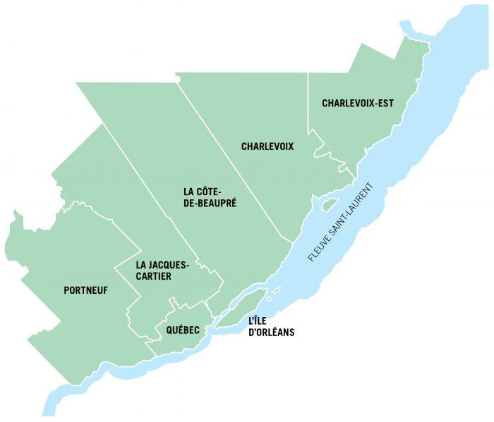 Carte des MRC de la Capitale-Nationale